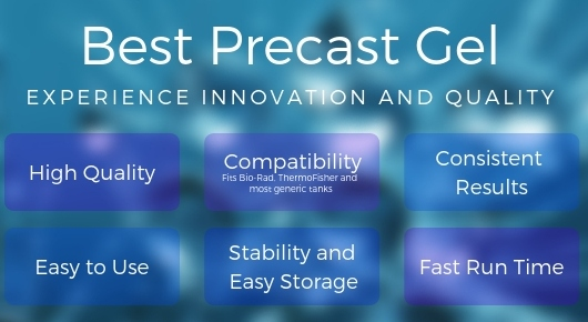 Precast Gel that is high quality, compatible with Bio-Rad, ThermoFisher, and most generic tanks, provides consistent results, has a fast run time, easy to store, and easy to use.
